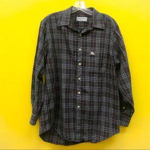 Vintage Burberry Black Plaid Men's Button Up Shirt